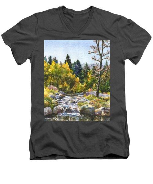 Creek At Caribou Ranch Men's V-Neck T-Shirt by Anne Gifford