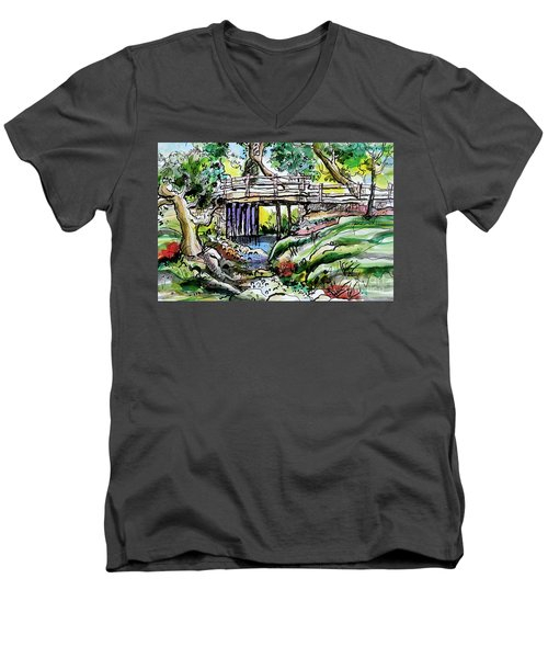 Creek Bed And Bridge Men's V-Neck T-Shirt by Terry Banderas