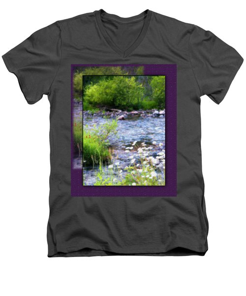 Men's V-Neck T-Shirt featuring the photograph Creek Daisys by Susan Kinney