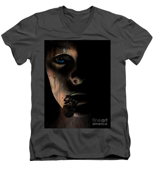 Creepy Men's V-Neck T-Shirt by Trena Mara
