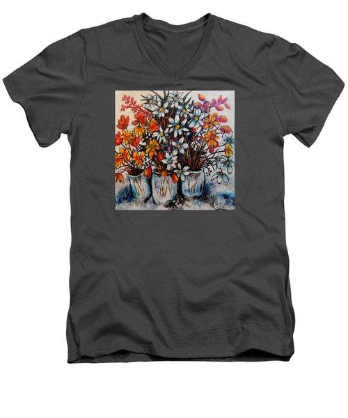 Crescendo Of Flowers Men's V-Neck T-Shirt