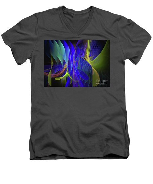 Men's V-Neck T-Shirt featuring the digital art Crescendo by Sipo Liimatainen