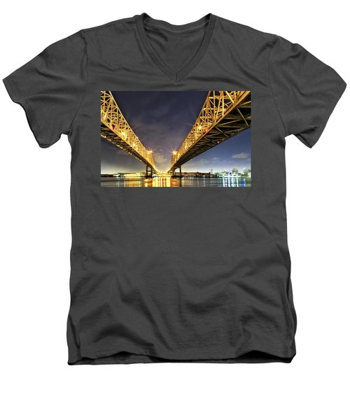 Crescent City Bridge In New Orleans Men's V-Neck T-Shirt