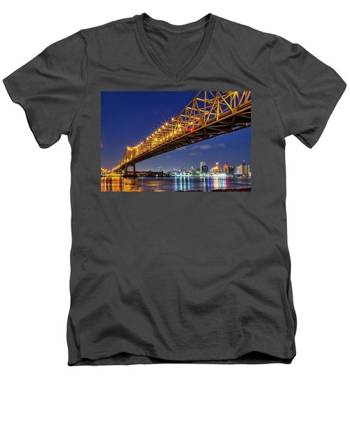Crescent City Bridge, New Orleans, Version 2 Men's V-Neck T-Shirt