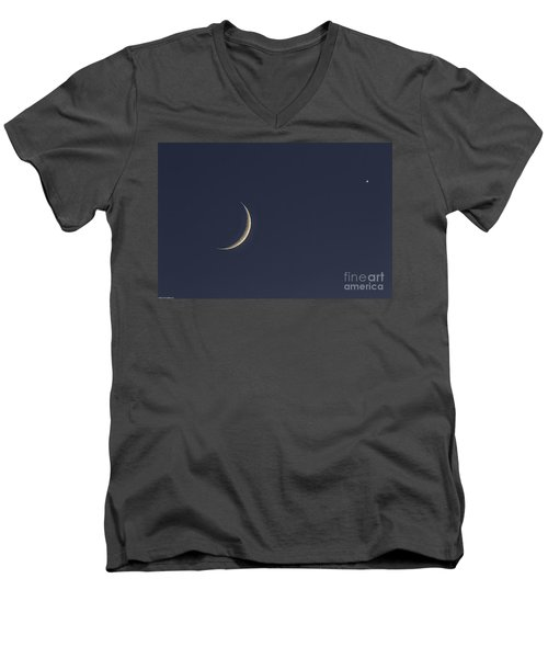 Men's V-Neck T-Shirt featuring the photograph Crescent Moon And Venus by Mitch Shindelbower