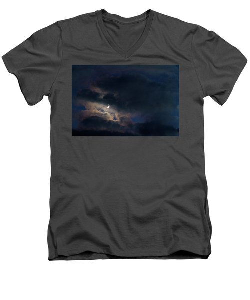 Men's V-Neck T-Shirt featuring the photograph Crescent Moon In Hocking Hilla by Haren Images- Kriss Haren
