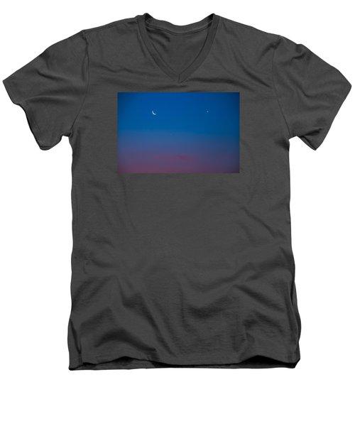 Crescent Moon Mercury And Venus Men's V-Neck T-Shirt