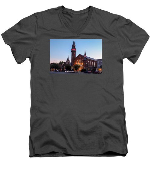 Crescent Moon Old Town Hall Men's V-Neck T-Shirt