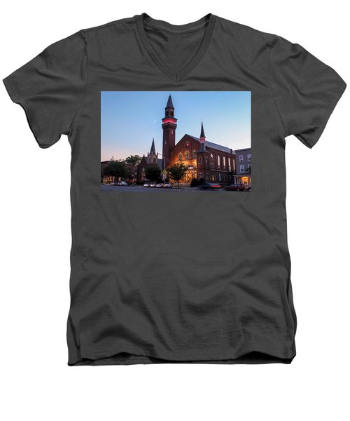 Crescent Moon Over Old Town Hall Men's V-Neck T-Shirt