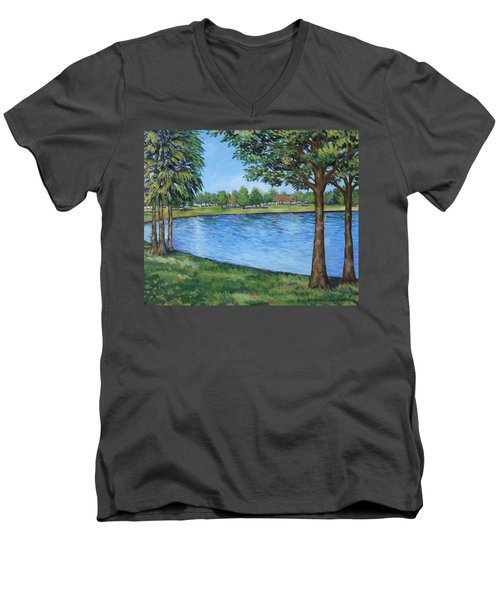 Men's V-Neck T-Shirt featuring the painting Crest Lake Park by Penny Birch-Williams