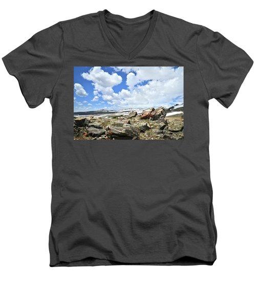 Crest Of Big Horn Pass In Wyoming Men's V-Neck T-Shirt