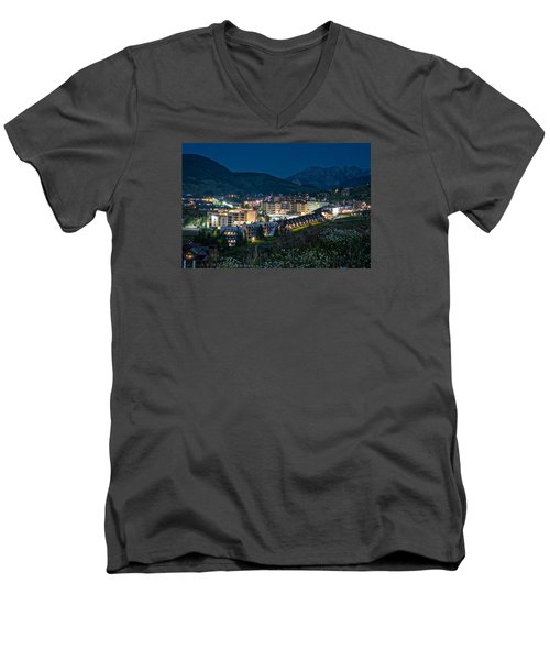 Crested Butte Village Under Full Moon Men's V-Neck T-Shirt