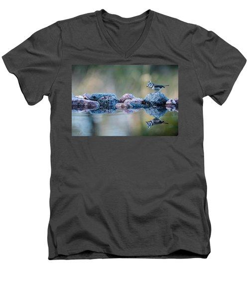 Crested Tit's Reflection Men's V-Neck T-Shirt