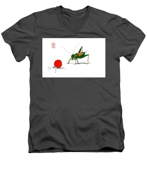Cricket  Joy With Cherry Men's V-Neck T-Shirt by Debbi Saccomanno Chan