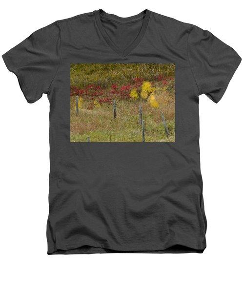 Men's V-Neck T-Shirt featuring the photograph Crimson And Gold by Tara Lynn