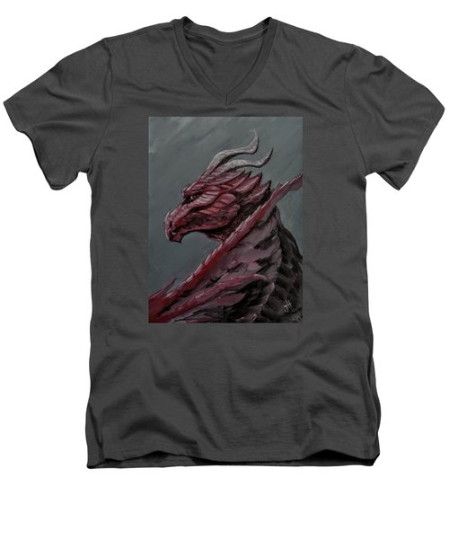 Men's V-Neck T-Shirt featuring the painting Crimson Dragon by Jennifer Hotai