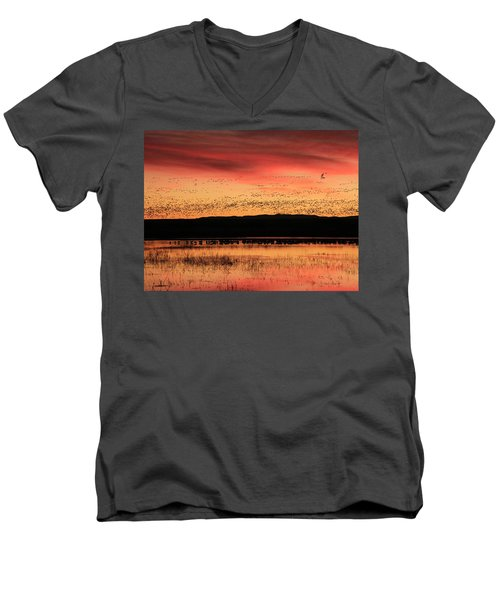 Crimson Sunset At Bosque Men's V-Neck T-Shirt