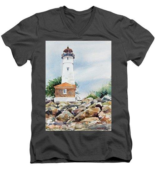 Crisp Lighthouse Men's V-Neck T-Shirt