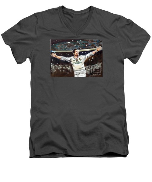 Cristiano Ronaldo Of Real Madrid Men's V-Neck T-Shirt by Dave Olsen