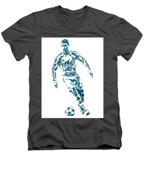 Cristiano Ronaldo Real Madrid Pixel Art 1 Men's V-Neck T-Shirt