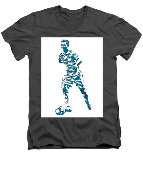 Cristiano Ronaldo Real Madrid Pixel Art 3 Men's V-Neck T-Shirt