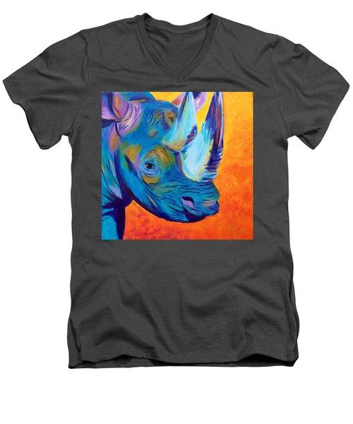 Critically Endangered Black Rhino Men's V-Neck T-Shirt