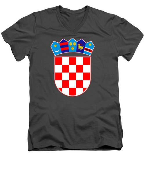 Croatia Coat Of Arms Men's V-Neck T-Shirt by Movie Poster Prints
