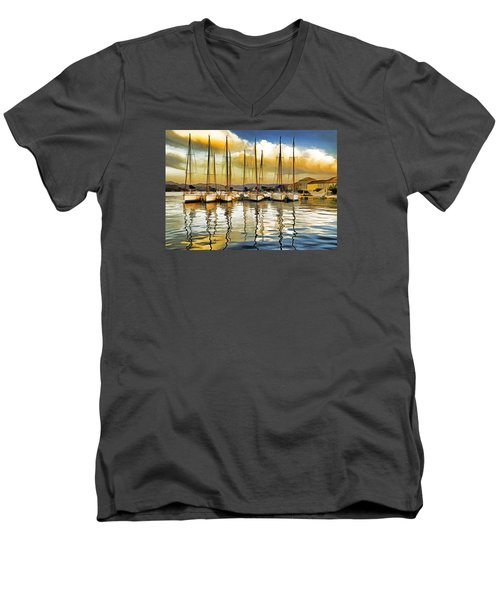 Croatia Marina Men's V-Neck T-Shirt by Dennis Cox WorldViews