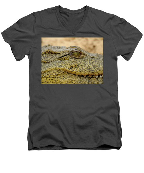 Men's V-Neck T-Shirt featuring the photograph Croc by Betty-Anne McDonald