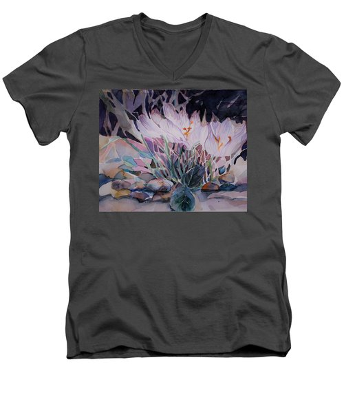 Men's V-Neck T-Shirt featuring the painting Crocuses by Mindy Newman