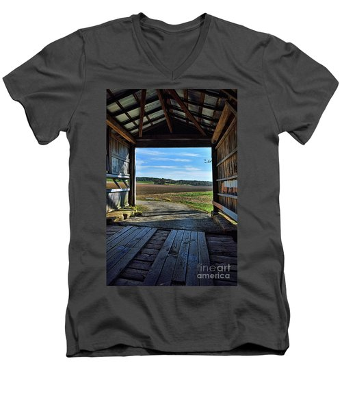 Men's V-Neck T-Shirt featuring the photograph Crooks Covered Bridge 2 by Joanne Coyle