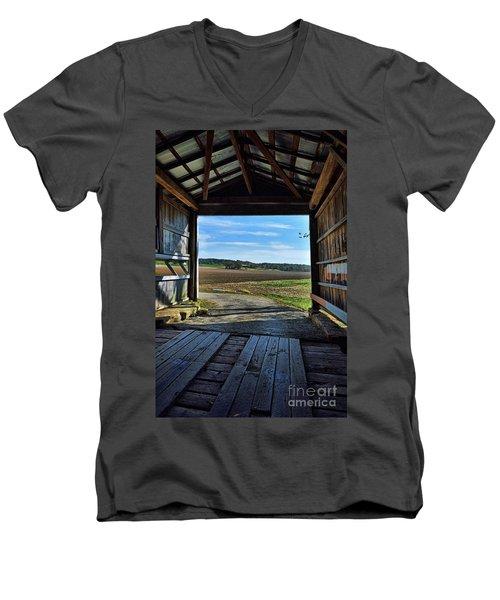 Crooks Covered Bridge 2 Men's V-Neck T-Shirt by Joanne Coyle