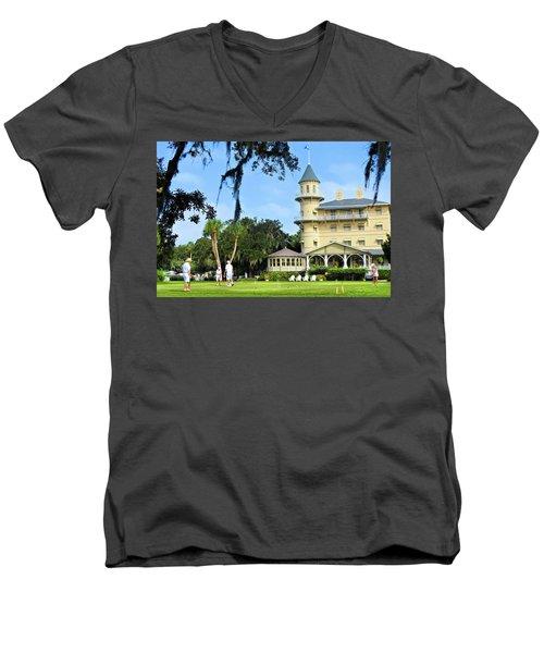 Croquet Anyone? Men's V-Neck T-Shirt by Laura Ragland