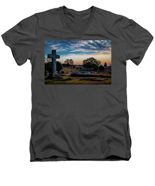 Cross At Sunset Men's V-Neck T-Shirt