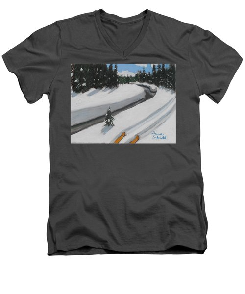 Cross Country Skiing Lone Star Geyser Trail In Yellowstone Nat. Park Men's V-Neck T-Shirt