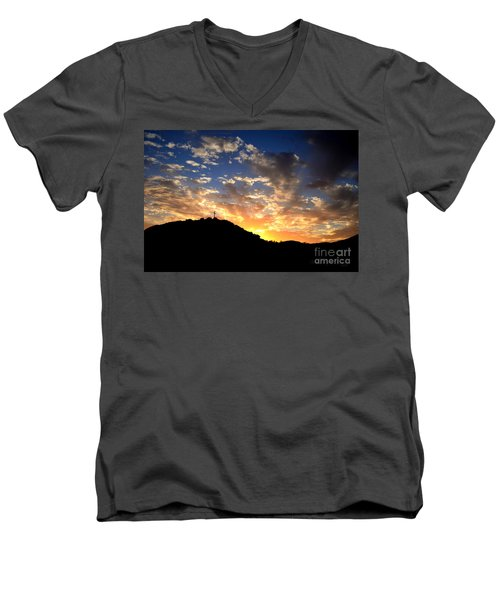 Cross On A Hill Men's V-Neck T-Shirt by Sharon Soberon