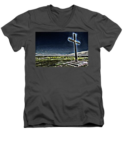 Men's V-Neck T-Shirt featuring the photograph Cross On The Hill by Douglas Barnard