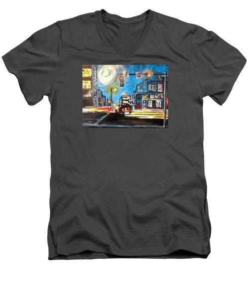 Cross Traffic Men's V-Neck T-Shirt by Barbara O'Toole