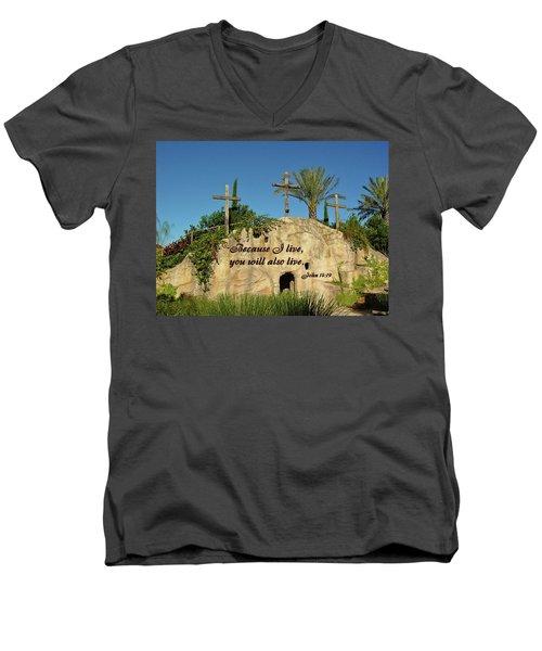 Crosses And Resurrection Men's V-Neck T-Shirt