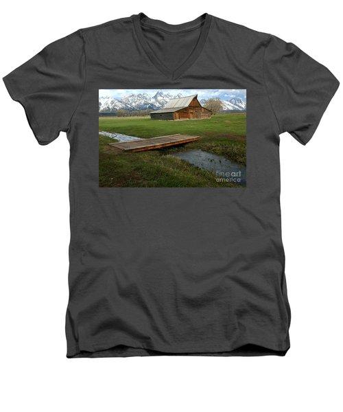 Crossing The Creek Along Mormon Row Men's V-Neck T-Shirt by Adam Jewell