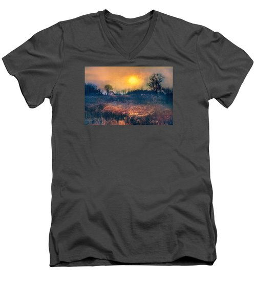 Crossing Through The Meadows Men's V-Neck T-Shirt by John Rivera