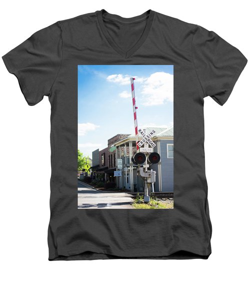 Men's V-Neck T-Shirt featuring the photograph Crossings In Old Town Helena by Parker Cunningham