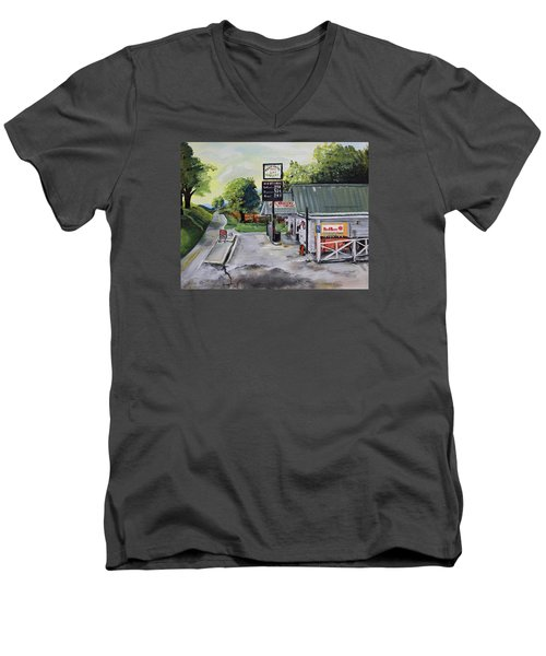 Crossroads Grocery - Elijay, Ga - Old Gas And Grocery Store Men's V-Neck T-Shirt