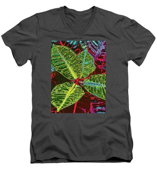 Croton - Deep Green Men's V-Neck T-Shirt by Kerri Ligatich