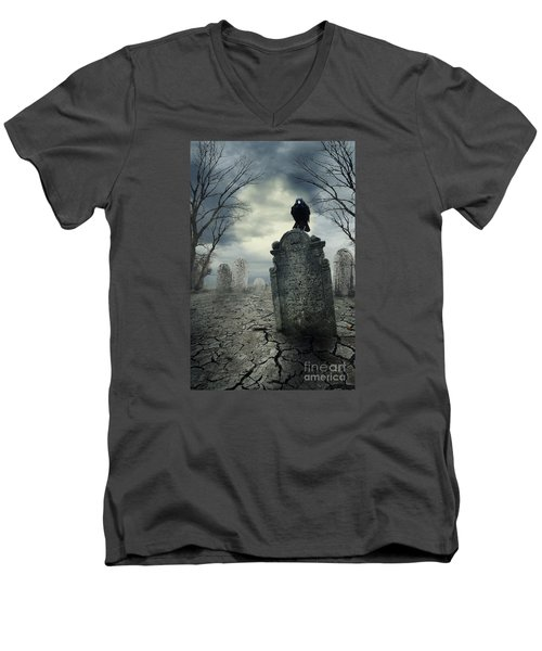 Crow On The Tombstone Men's V-Neck T-Shirt