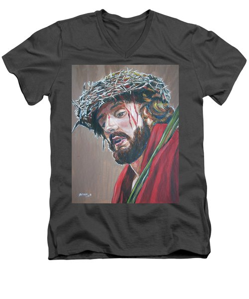 Men's V-Neck T-Shirt featuring the painting Crown Of Thorns by Bryan Bustard