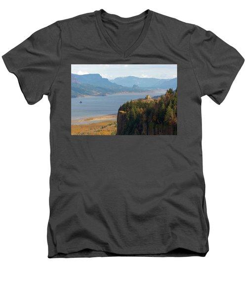 Crown Point On Columbia River Gorge Men's V-Neck T-Shirt