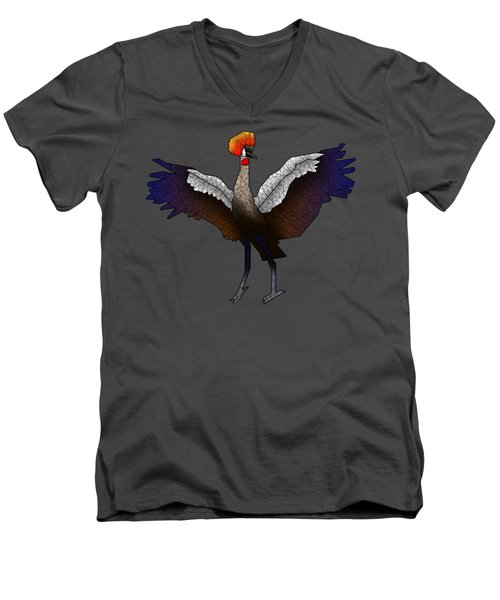 Crowned Crane Men's V-Neck T-Shirt