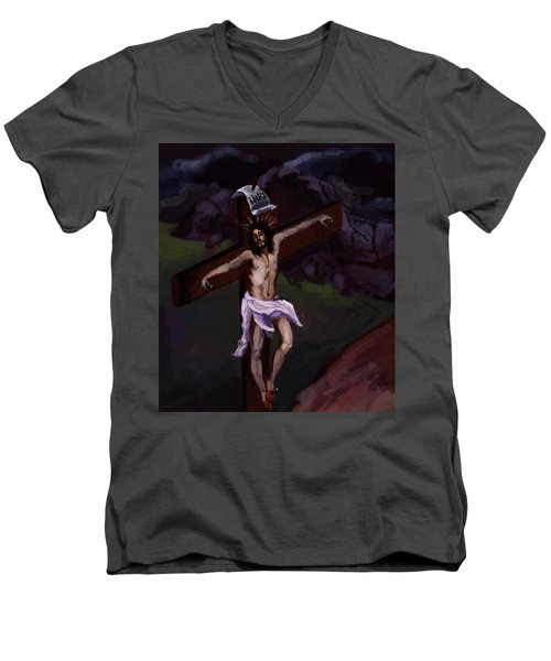 Crucifixion 2 Men's V-Neck T-Shirt
