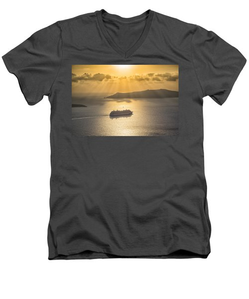 Men's V-Neck T-Shirt featuring the tapestry - textile Cruise Ship In Greece by Kathy Adams Clark